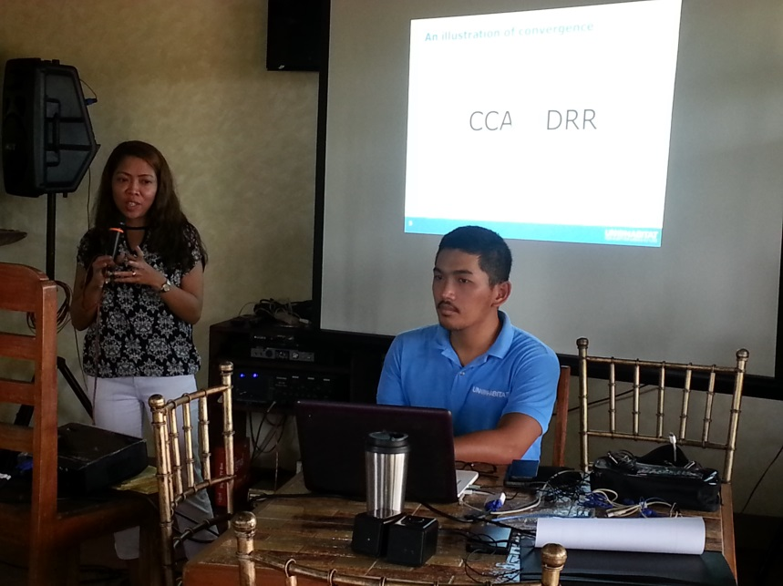 Laids Cea, CCCI Regional Coordinator, explains the convergence of climate change and DRR. Photo: UN-Habitat/P.Mejillano.