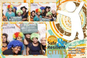 "Photo Pledge Photobooth: Pledges ranged anywhere from more general themes like ""I promise to be strong and resilient"" to more personal statements like ""We promise to be good educators."" Photos: UN-Habitat"