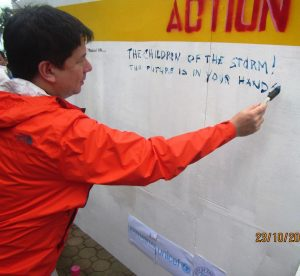 "Inaugural mark on the freedom wall by Mayor Romualdez: ""The children of the storm! The future is in your hands!"""