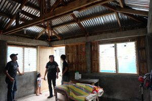 UN-Habitat technical teams inspecting the condition of each core house after the typhoon.