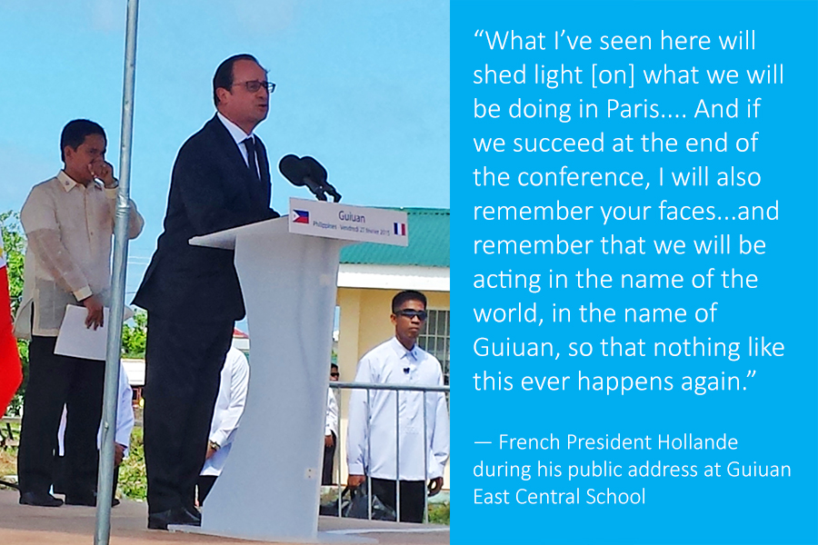Hollande speaking in Guiuan