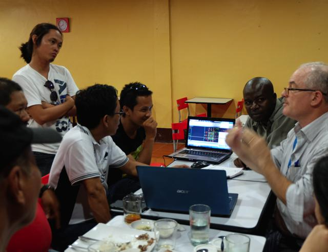 UN-Habitat Project Manager Robert Deutsch and Shelter Expert Chrispin Ojiambo at a design meeting with UAP members Emmanuel Espino, Al Berdugo, and Edver Francisco.