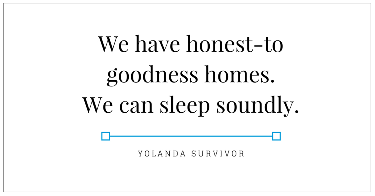 We have honest-to goodness homes.We can sleep soundly copy
