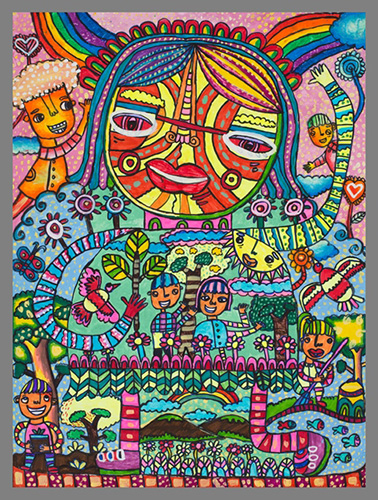 Winning artwork of Filipino 4th grader Maria Angelica Tejada during the 2015 World Habitat Day drawing competition.